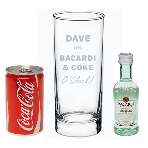 PERSONALISED BACARDI GLASS BACARDI AND COKE GLASS GIFT BOXED