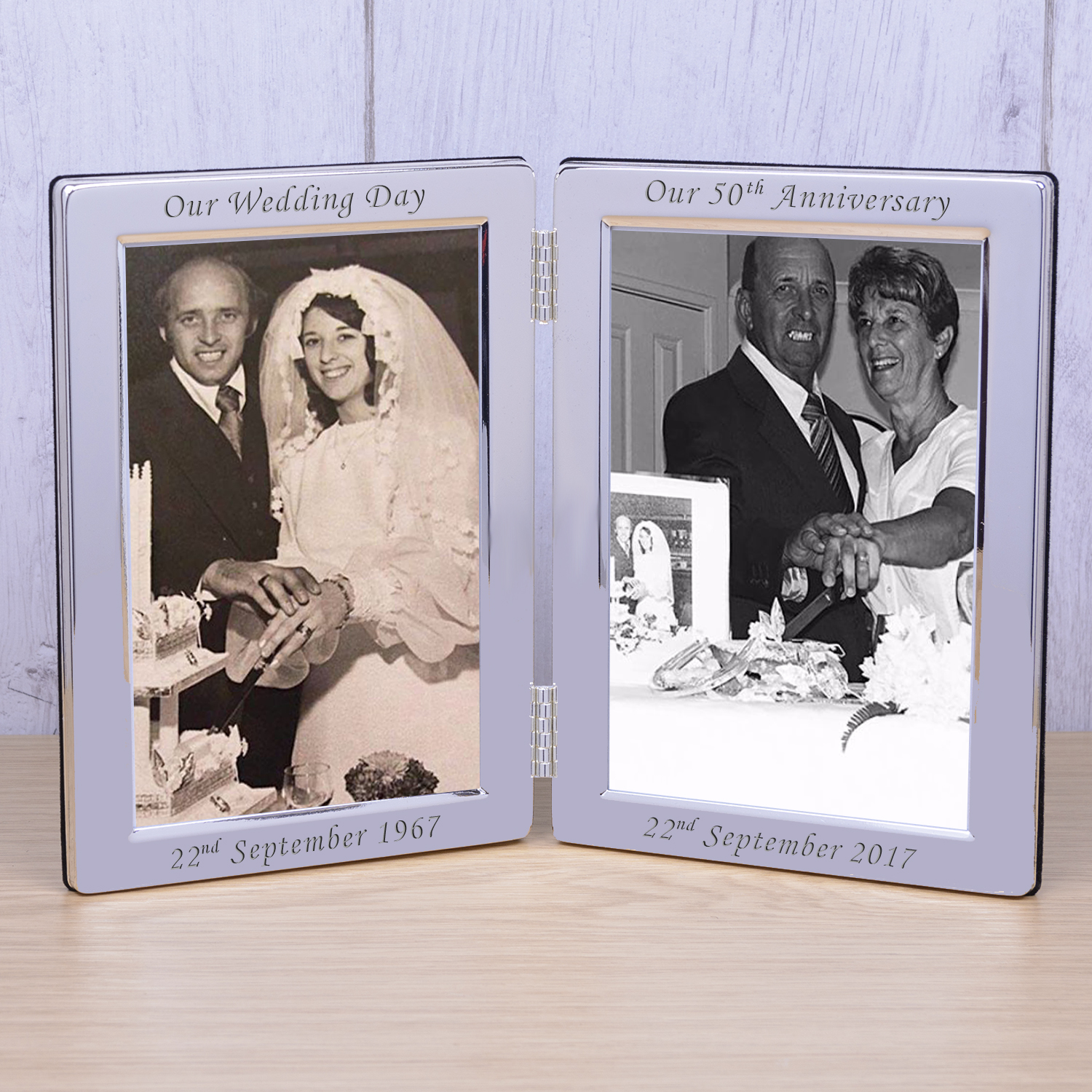 Silver Plated Double Frame Our Wedding