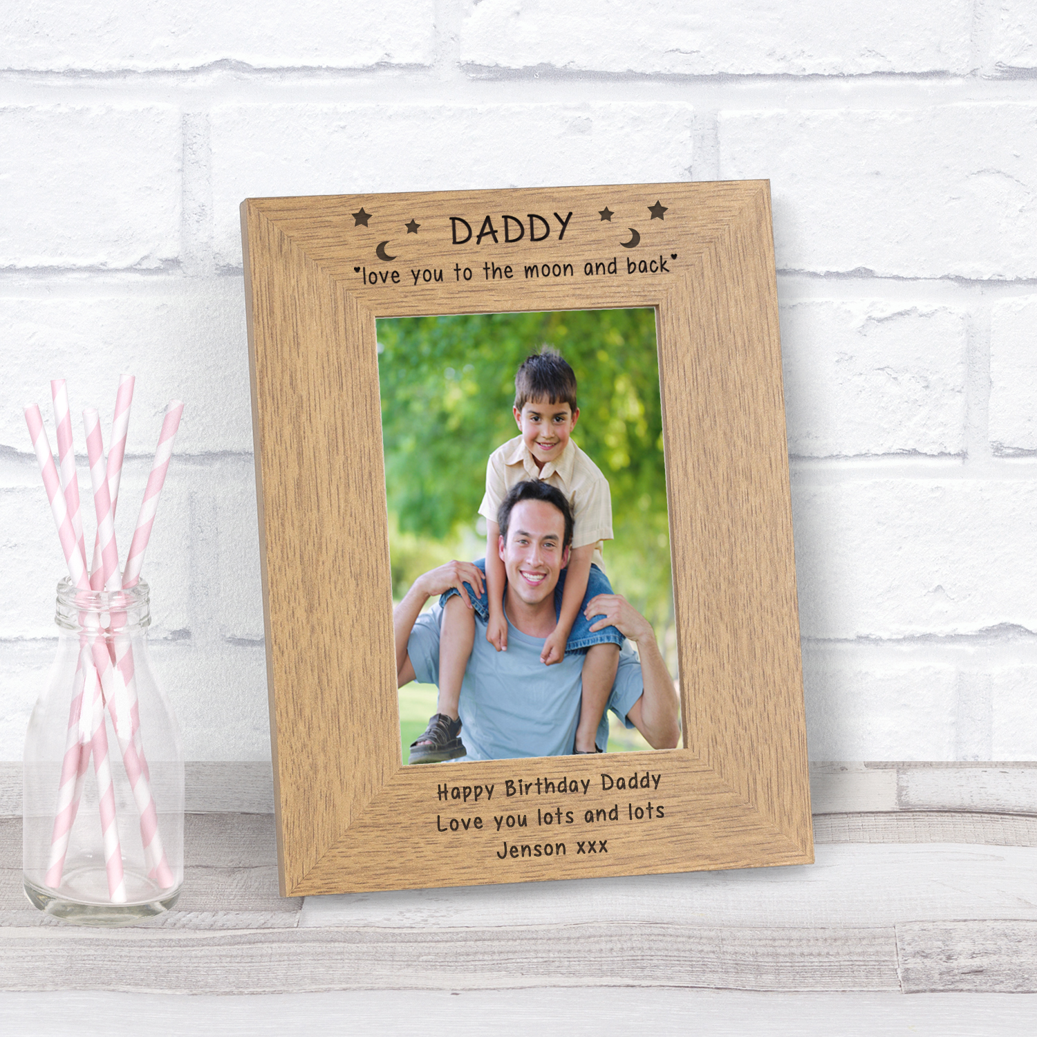 Daddy love you to the moon and back Wood Frame - 7x5