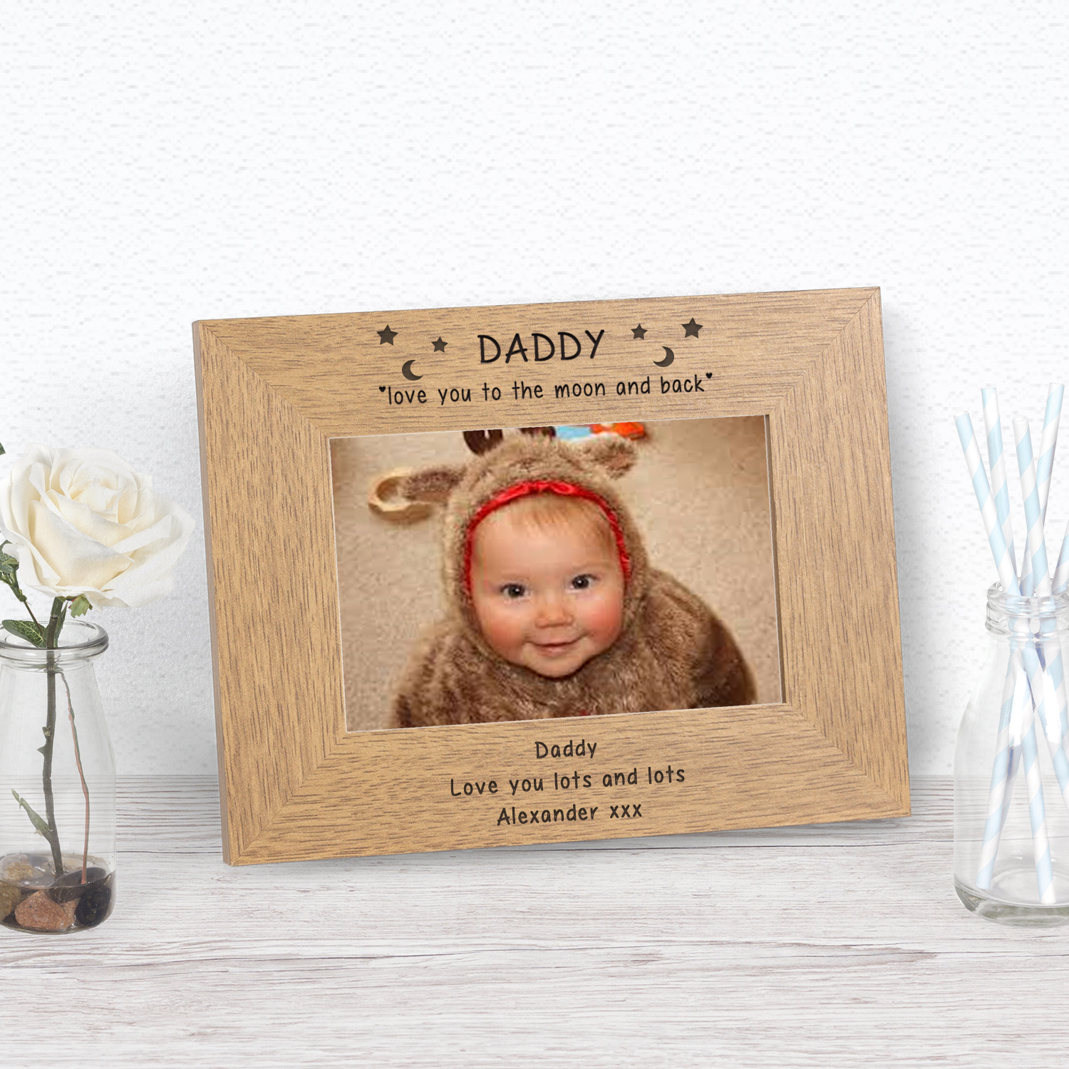 Personalised Engraved Daddy Love You Moon /& Back Oak Photo Cube Album