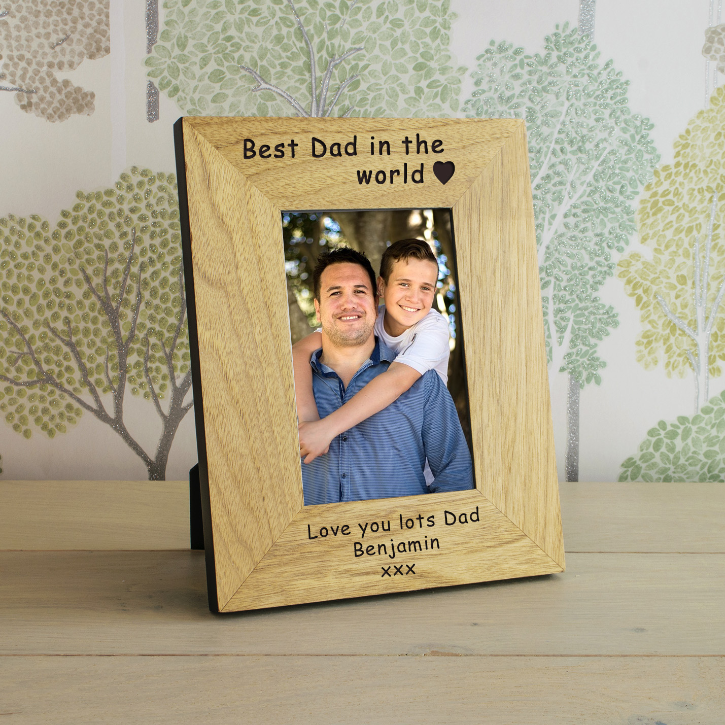 best dad in the world wood frame 7x5