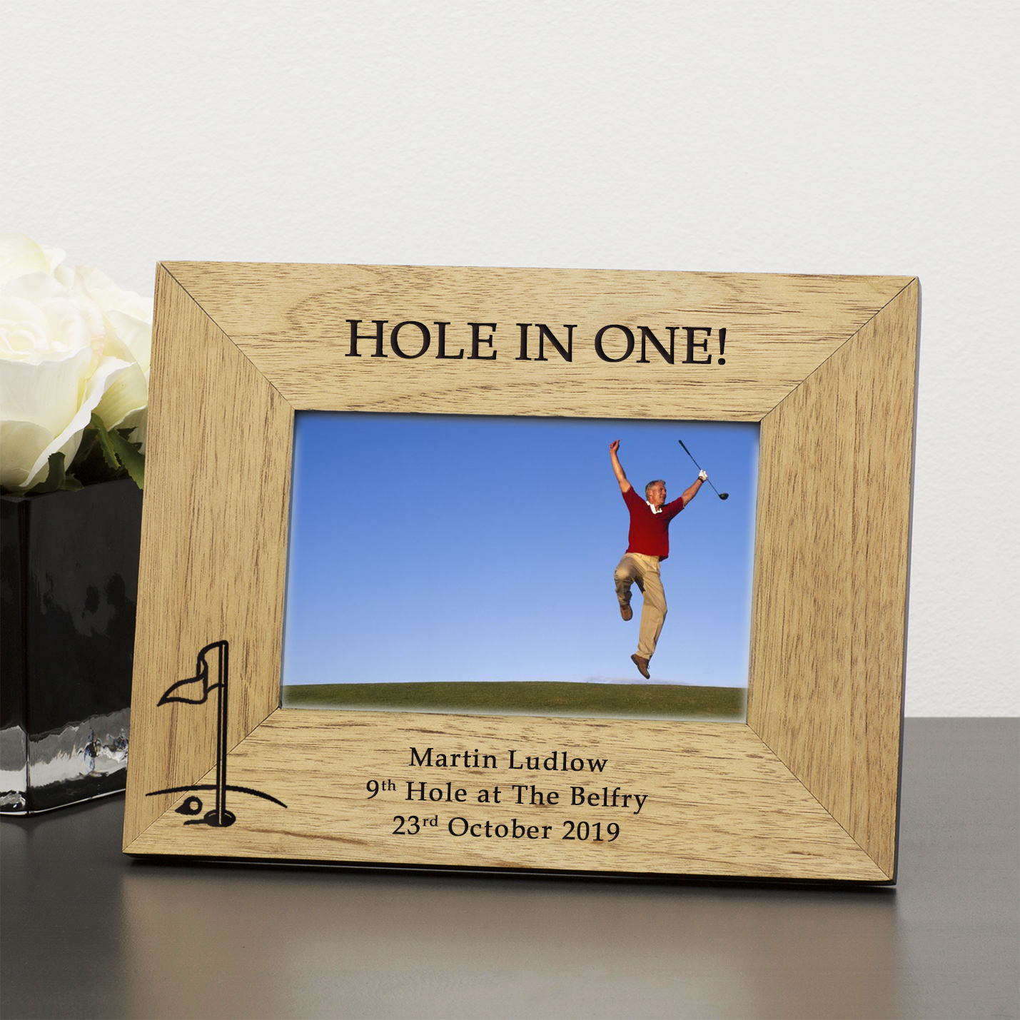 Hole in one wood frame 6x4