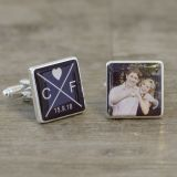 Initials Date & Photo Cufflinks