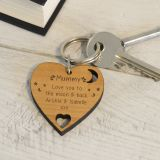 Wooden Key Ring - Love you to the moon & back