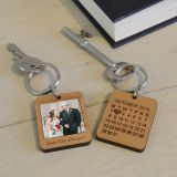 Wooden Key Ring - Special Date Polaroid Style