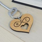 Wooden Key Ring - Infinity Initials