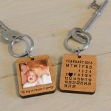 Wooden Key Ring - The day we became a family!