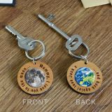 Wooden Key Ring - Moon & back...