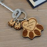 Wooden Key Ring - Paws