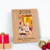 Babys First Christmas Wood Frame 7x5