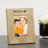 Wood Frame 7x5 Hearts & Name