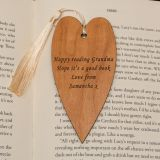 Heart Wooden Bookmark - Your Message